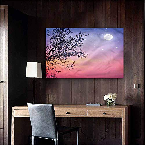 Gabriesl Canvas Print Wall Art Night Dreamy Sky Spring Tree Background Wall Stickers Size : W20 x H16 (Dreamy Nights Wall Border)