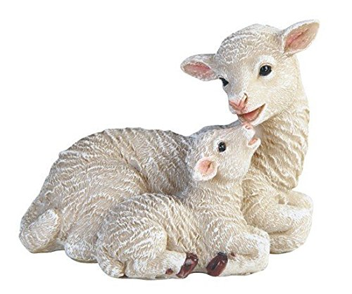 StealStreet SS-G-54427, 4 Inch Sheep with Baby Cub Lamb Lying Statue Figurine, White, 4