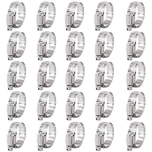 - Keadic 25Pcs Adjustable Fuel Line Clips Worm Gear Hose Clamp Assortment Kit for Various Pipes Automotive Mechanical Use - 304 Stainless Steel (21-38mm)