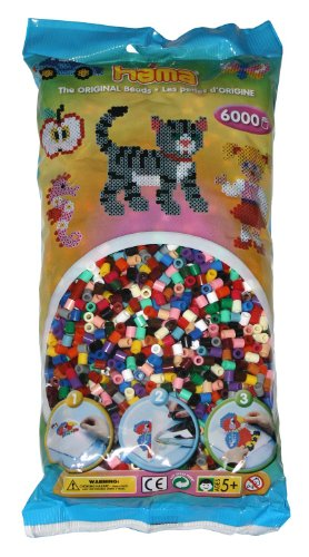 Hama - 205-67 - Loisirs Créatifs - Perles et Bijoux - Sachet 6000 Perles Mixte 22 Couleurs