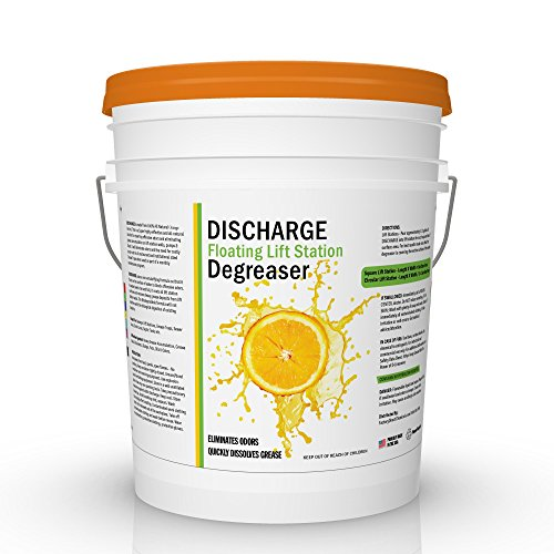 DISCHARGE DEGREASER | Industrial Strength Pure Orange Oil D-Limonene Cleaner for Grease Traps & Floating Lift Stations (5 Gallon) (Industrial Strength Degreaser)