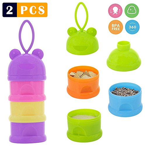 2 PCS Milk Powder Dispenser, Formula Holder for Baby, Kids's Portable mixing food container for Travel, Outdoor, Mixer Pitcher with Plunger,Bottle Maker Accessories Formula Storage Containers BPA Free