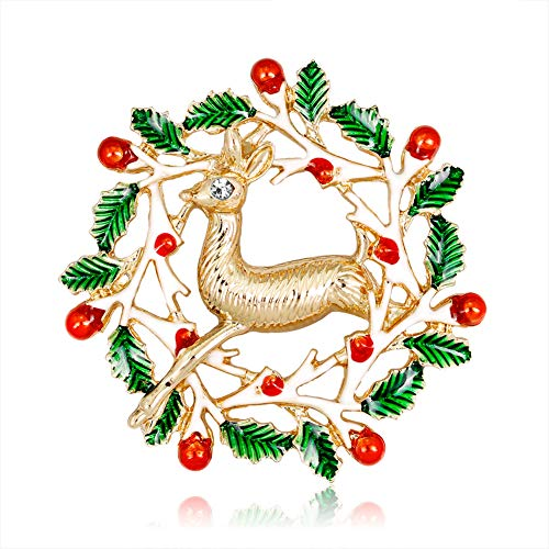 Da.Wa Christmas Elk Brooch Green Leaf Red Fruit Gold Plated Alloy Brooch Pin for Womens Girlfriend Child Jewelry Gift - Gold Plated Leaf Brooch