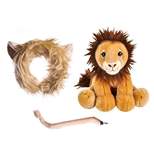 Wildlife Tree Stuffed Plush Lion Ears Headband and Tail Set with Baby Plush Toy Lion Bundle for Pretend Play Animals Dressup