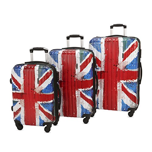 3 Piece Luggage Set Durable Lightweight Hard Case pinner Suitecase 20in24in28in LUG3 PC30 British flag (One Direction British Flag)