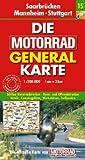 Motorrad Generalkarte Deutschland Saarbrücken, Mannheim, Stuttgart 1:200 000