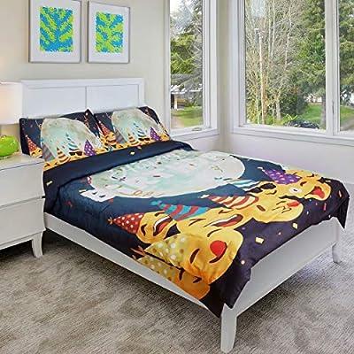 Shatex 3 Piece Duvet Cover for Kids Bedding Moon Theme Halloween Quilt 3 Piece Set Twin Bed Comforter 3 Sets,Each Set Includes:1 Comforter+2 Pillow Shams