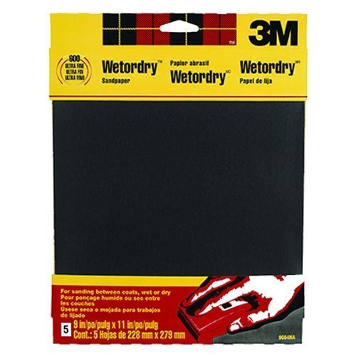 3M Wetordry Sandpaper, 9-Inch by 11-Inch, Super Fine 400 Grit, 5-Sheet, 6 PACk