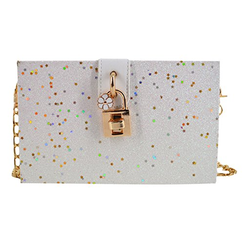 White with Handbags Clutch 2 Star for Box Shoulder Chain Fashion Strap Mily Bag Sequins Women Pattern from fATxqwZC
