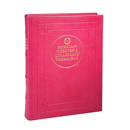Desk Thesaurus, Merriam-Webster Collegiate Edition, Genuine Goatskin Leather, 7-1/2'' x 10'', Pink by Graphic Image