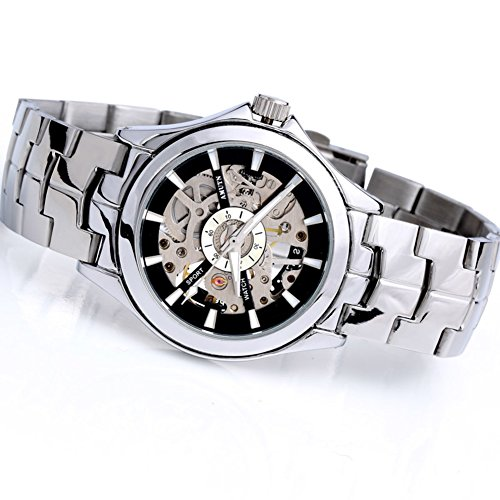 QWERTYUIOP Mens Fashion Openwork Table/Steel Strip Mechanical Korea/Casual Watches-A
