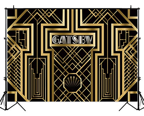 Allenjoy 7x5ft Polyester Great Gatsby Theme Birthday Backdrop Luxury Geometric Golden Metallic Stripes Black Background Banner for Photography or Party Decoration