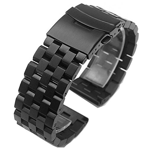Brushed Stainless Steel Watch Band Strap 18mm/20mm/22mm/24mm/26mm Double-Lock Clasp For Men Women Black/Silver