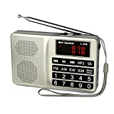 Retekess L-258 Portable AM FM Radio Shortwave Transistor Radio Support SD Card USB Driver AUX Input MP3 Player Rechargeable Battery(Silver)