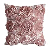 Juanshi Set of 2 Piece Decorative Rose Throw Pillow Cover Cushion Case Color Pink by Juanshi