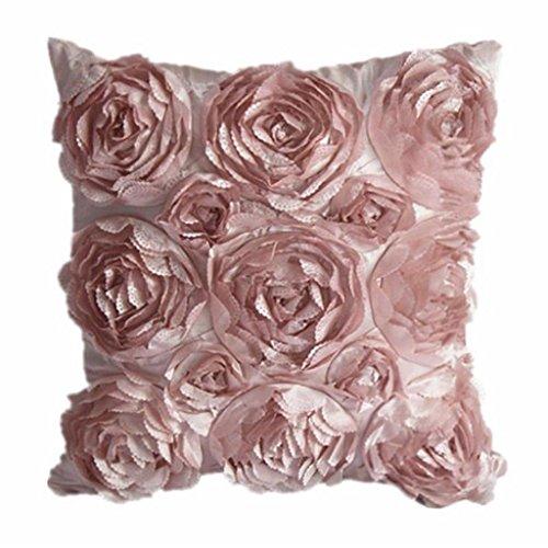 Juanshi Set of 2 Piece Decorative Rose Throw Pillow Cover Cushion Case Color Pink