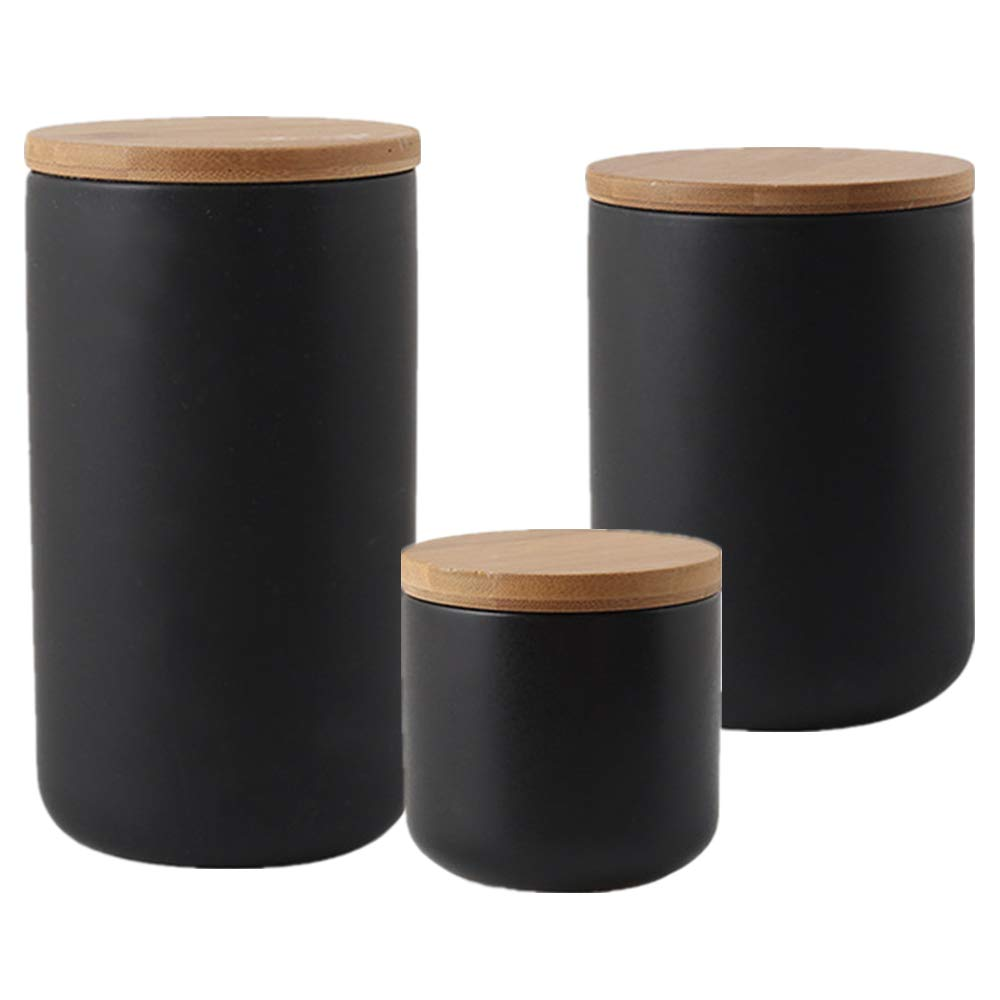 OnePine Set of 3 Air Tight Jars Ceramic Storage Containers with Airtight Seal Bamboo Lids Kitchen Canisters for Tea Sugar Coffee Spice Seasoning and More