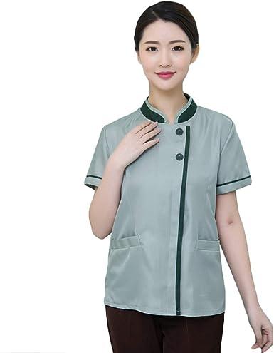 WanYangg Hombre y Mujer Uniforme Camarero Botones Chaqueta Transpirable Resistente al Desgaste Manga Corta Hotel Limpieza Camisa 8#Verde XXXXXL: Amazon.es: Ropa y accesorios