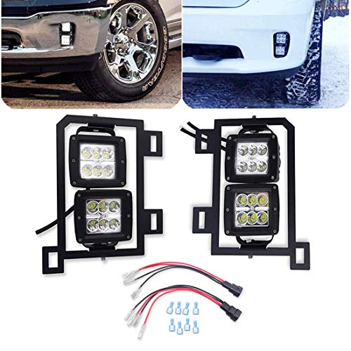 Dasen For 2013-2018 Dodge RAM 1500 4x 18W 3 inch Vertical LED Fog Lights and Front Bumper FogLamp Replacement Mount Brackets w/Plug N Play Wiring Kit