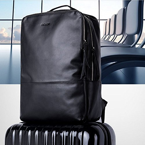 MUZOR Lightweight Microfiber Leather Weekender Travel Flight Backpack with Luggage Strap Fits Up to 15.6 Inches Laptop Business Computer Rucksack (Black-Solid)