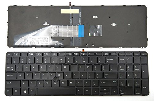 ndliulei New US Layout Laptop Backlit Keyboard (with Frame) Replacement for HP ProBook 650 G3 655 G3 Light Backlight Black Notebook US