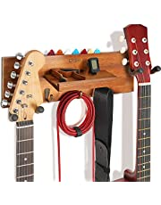 $31 » Guitar Hanger Wall Mount with Shelf and Pick Holder, Solid Wood Guitar Holder with Double Rotatable Rubber Hook, Guitar Hanging Rack for Acoustic Electric Guitar, Bass, Banjo, Guitar Accessories