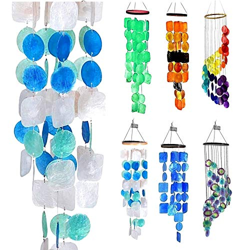 Bellaa 22906 Handmade Amazing Grace Chimes Indoor Outdoor Large Wind Chimes Hanging Memorial Garden Decor Soft Tone Wind Chime Capiz Sea Shell 27 inch from Bellaa