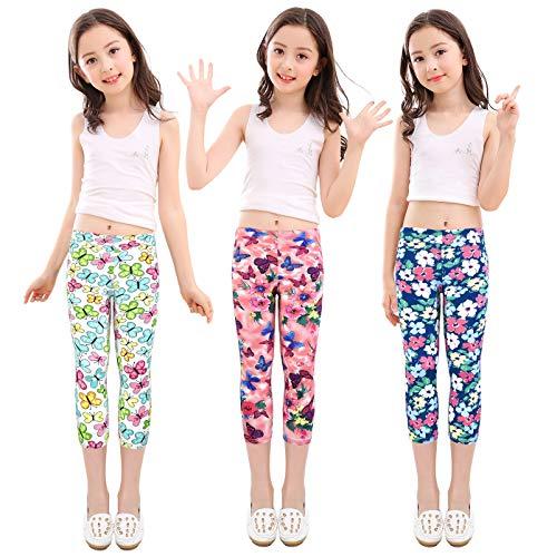 slaixiu Girls Leggings Stretchy Kids Pants Classic Printing Flower Pattern(GP02_Capri_SAABBC_160#)