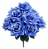 Admired by Nature GPB9340-LT.BL Artificial Blossoms Rose Bush44; Light Blue