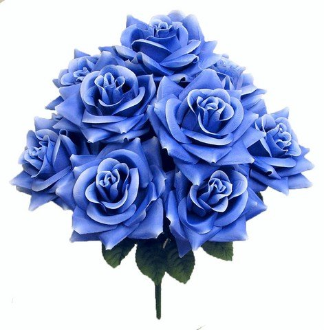 Admired by Nature GPB9340-LT.BL Artificial Blossoms Rose Bush44; Light Blue by Admired By Nature