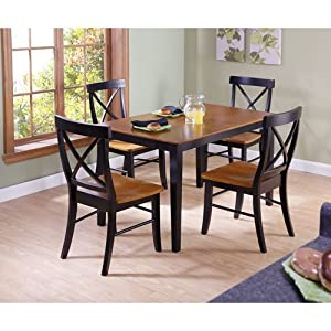 Elegant International Concepts 30 By 48 Inch Dining Table With X Back Chairs, Set  Of 5