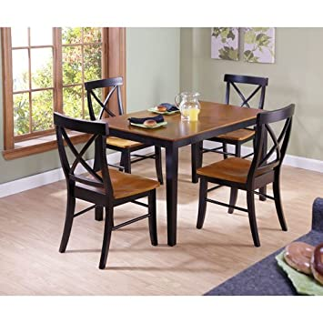 International Concepts 30 by 48-Inch Dining Table with X-Back Chairs, Set