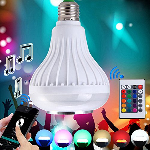 Wireless 12W Power E27 LED rgb Bluetooth Speaker Bulb Light Lamp - 9
