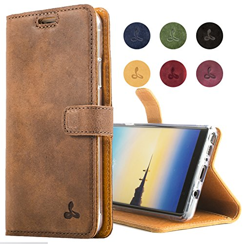 Snakehive Samsung Galaxy Note 8 Case, Genuine Leather Wallet with Viewing Stand and Card Slots, Flip Cover Gift Boxed and Handmade in Europe for Samsung Galaxy Note 8 - Brown