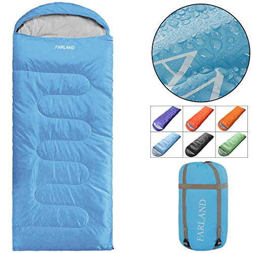 FARLAND Camping Sleeping Bag Adult for 0 Degree to 20 Degrees Fahrenheit EnvelopeMummy Outdoor Lightweight Portable Waterproof Perfect Traveling,Hiking Activities(Sky Blue/Left Zip, Rectangular)