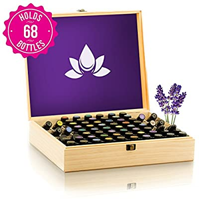 Essential Oil Wooden Box Organizer - Large Wood Storage Case Holds 68 Oils. Protects 15ml Drams & 10ml Roller Bottles - Best for Travel and Presentations. Display doTERRA, Young Living, Plant Therapy