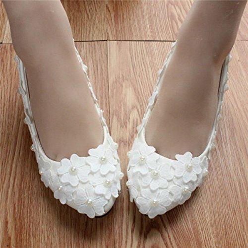 JINGXINSTORE Lace Handgemachte Frauen Pearl Weiß Lace JINGXINSTORE Braut Hochzeit Schuhe High Heels 278582