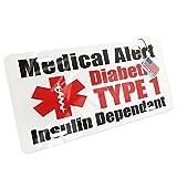 Metal License Plate Medical Alert Red Diabetic Insulin Dependant TYPE 1 - Neonblond
