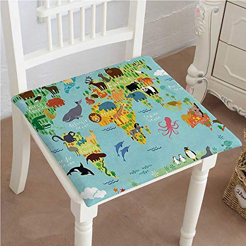 Mikihome Memory Foam Chair Pads Kids Wanderlust Decor Forest Animals Map of The World for Children and Kids Cushion Perfect Indoor/Outdoor 30''x30''x2pcs by Mikihome