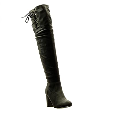 55aac2c226cc6 Angkorly - Chaussure Mode Cuissarde Botte Cavalier Sexy Souple Femme Noeud  Lacets Talon Haut Bloc 8.5
