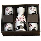 Moyishi Japanese Cherry Blossom Ceramic Sake Set Cherry Blossom Best Gift (Plum)