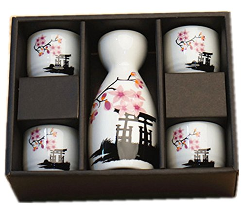 Plum Blossom Bottle (Moyishi® Japanese Cherry Blossom Ceramic Sake Set Cherry Blossom Best Gift (Plum))