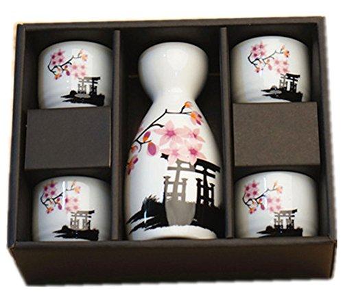 Moyishi® Japanese Cherry Blossom Ceramic Sake Set Cherry Blossom Best Gift (Plum) by Moyishi