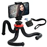 Wotmic Mini Cell Phone Tripod with Bluetooth Remote Flexible Tripod with Ball Head Metal Smartphone Tripod Mount Portable Travel Compact Bendable Octopus Tripod Stand Holder Black