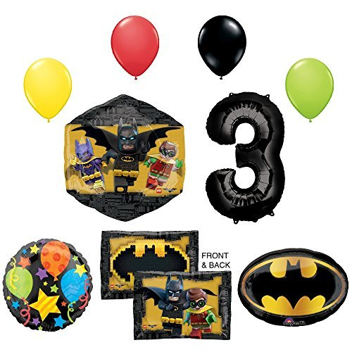 The Lego Batman Movie 3rd Birthday Party Supplies and Balloon Decorations (Lego Games Birthday Party)