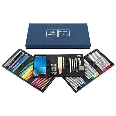 Madisi Art Pencil Set 100 PCS - 36 Watercolor Pencils, 36 Colored Pencils , 28 Drawing and Sketch Pencils Set - Kids & Adults School Supplies