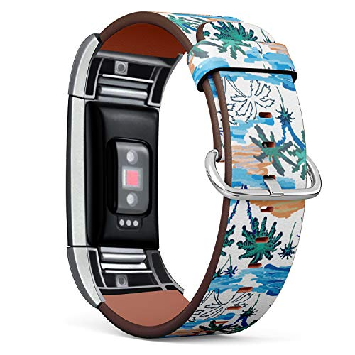Island Paradise Leather - R-TECH Leather Replacement Strap Compatible with Fitbit Charge 2 - Blue Lagoon Paradise Pattern with Ocean, Islands and Palms
