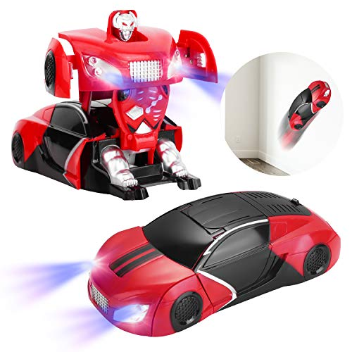 RC Car, Kids Toy Remote Control Wall Climbing Car, Toddler Toy 360°Rotating Stunt Car Wall Car Design RC Rechargeable Car Gift for Boys and Girls (RED)