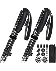 Trekking Poles, Anbte 2 Pack Aluminum 7075 Collapsible Walking Sticks with Adjustable Quick Lock, Replacement Tips, Strong Ultralight for Hiking, Camping, Mountaining, Backpacking, Walking, Trekking