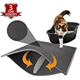 """Pieviev Cat Litter Mat Litter Trapper of Large Size 30"""" X 24"""", Honeycomb Double-Layer Design with Waterproof Urine Proof Material, Easy Clean and Floor Carpet Protection (Grey)"""